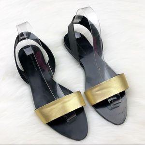 Zara Basic Collection Gold & Black Sandals